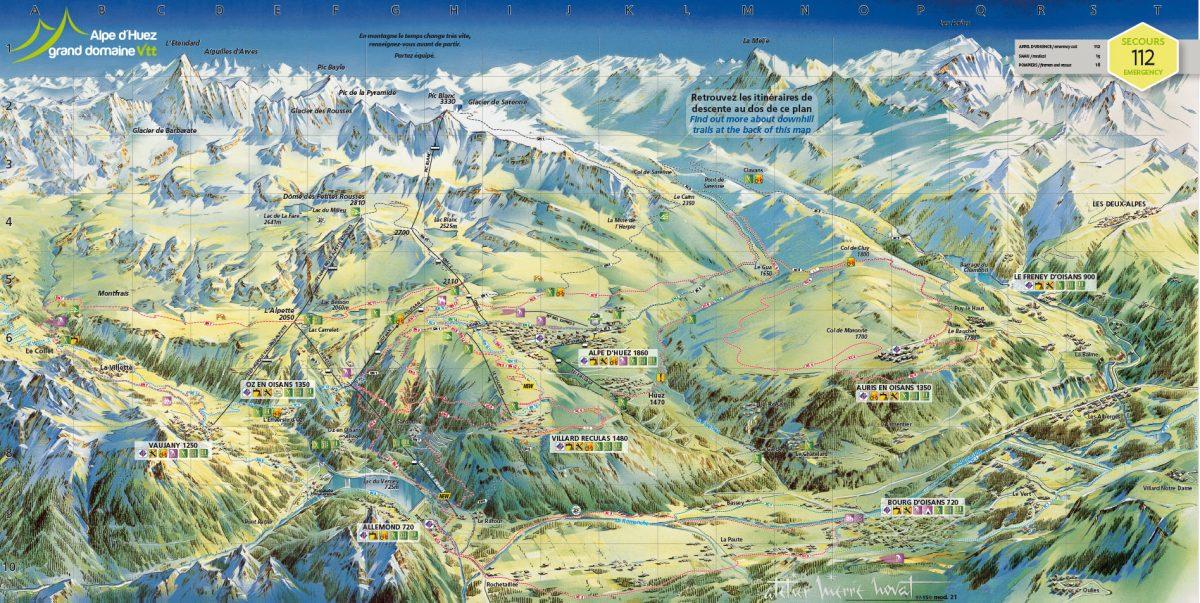 Plan Alpe d'Huez Grand Domaine VTT